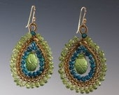 Dramatic -  Peridot, London Blue Topaz and carved Quartz earrings woven in 14k gold filled wire