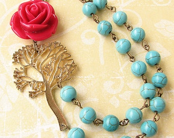 Flower Necklace Tree Jewelry Statement Necklace Pendant Necklace Turquoise Jewelry Tree Necklace Double Strand Gift Ideas