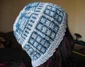 blue robot womens wool acrylic beanie hat