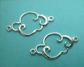 Silver Clouds, Sterling Silver SIDEWAYS Cloud Connector Link Charm, 2 PC, 925 Natures Charms Pendant, 9x15mm,