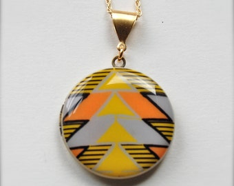 Locket Necklace Arrowhead Original Art Alyson Fox Arrowhead Jewelry Necklaces Arrow Head Geometric Yellow Orange Gold Long Necklaces Gifts