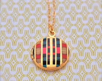 "Mini Locket Necklace Alyson Fox Design ""Rows"" Gold Filled Chain"