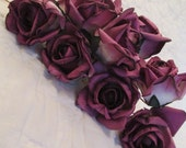 Paper Roses on Wires Deep Mauve lot of 10