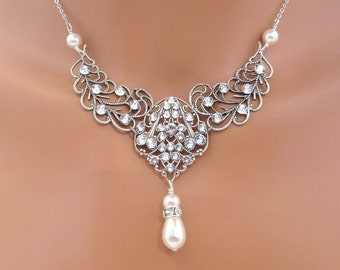 Vintage Bridal necklace, Wedding jewelry, Pearl Wedding necklace, Rhinestone necklace, Swarovski crystal pearl necklace, bridesmaid necklace