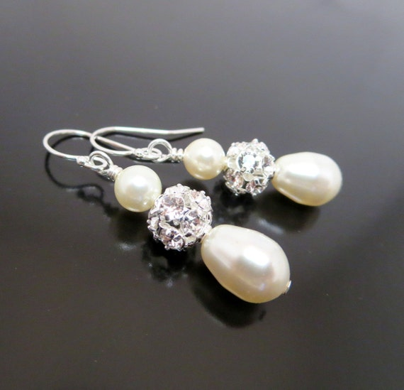 Bridal pearl earrings with Swarovski crystals and Swarovski pearls, sterling silver earrings wedding jewelry, bridesmaid jewelry