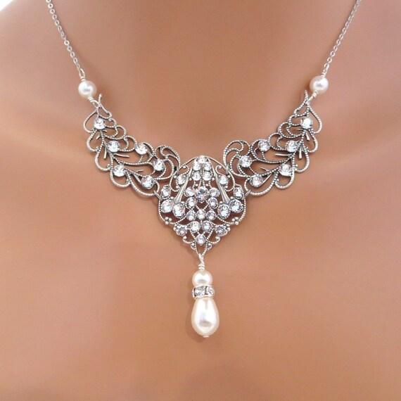 Vintage inspired bridal necklace, wedding jewelry, rhinestone necklace, Swarovski crystal and pearl necklace, bridesmaid necklace