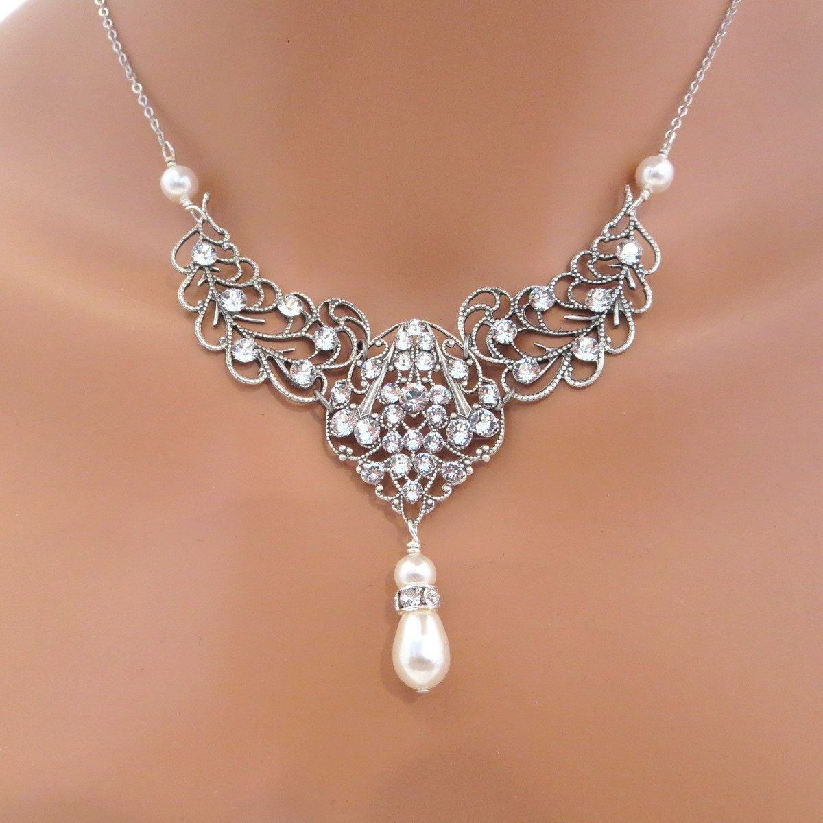 Vintage Bridal necklace Wedding jewelry Pearl Wedding