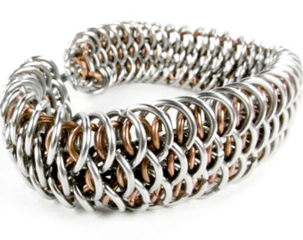 Chainmaille Bracelet - Copper - Dragonscale Pattern