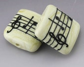 Ivory Cream Music Square Kalera Black Notes Treble Clef Handmade Lampwork Earring Pair Heather Behrendt BHV SRA LETeam