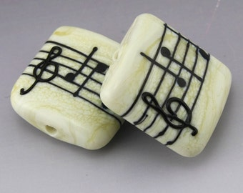 Ivory Cream Music Square Kalera Black Notes Treble Clef Handmade Lampwork Earring Pair Heather Behrendt BHV SRA LETeam