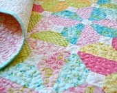Quilt Baby Toddler Blushing Spring Colors Handmade Patchwork Nursery Cot Crib Children Pink Yellow Aqua Scrappy