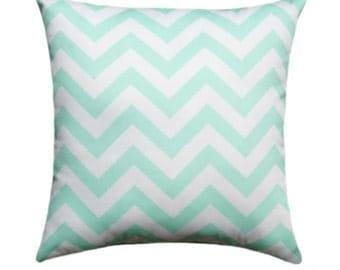 Chevron STUFFED Throw Pillow, Zig Zag Mint Double Sided Decorative Chevron Mint Green Throw Pillow Free Shipping