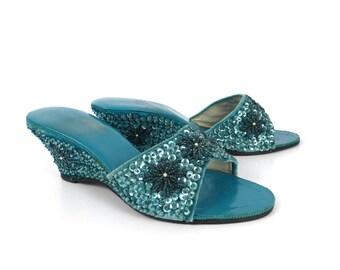 Velvet Beaded Sandals Vintage 1960s Capili slides heels Women's size