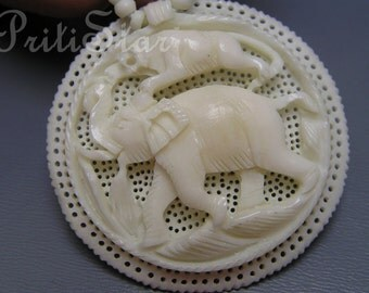 Vintage Pendant Necklace Carved Faux Ivory Tiger Elephant Hunting Scene Jewelry