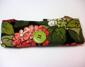 Fold Up Fabric Tote Bag - Shopping Bag - Replaces Plastic Bags - Eco Friendly - Hydrangea - Green, Peach, Coral, Black