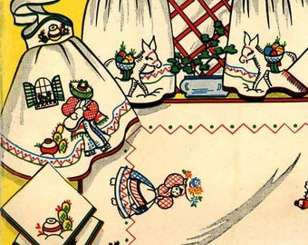 PATTERN 106 Reproduction Iron on Embroidery Transfers Mexican Fiesta Senior Burro Sombrero for Towels 1950s