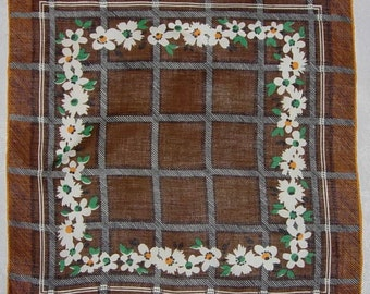 Vintage Brown Hanky with White Flowers and Handrolled Hem