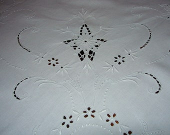 Antique Linen Tablecloth With Hand Embroidery