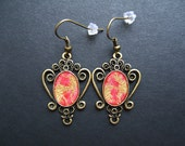 AMBROSIA AFFORDABLES 14 x 10 mm Earrings Red Gold