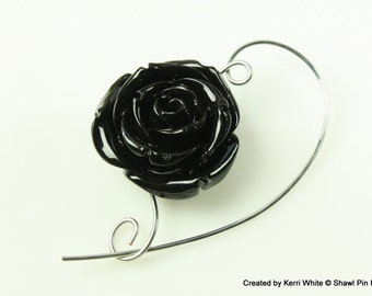 Black Rose Beaded Shawl Pin, Scarf Pin, Brooch - Knitting Pin, Knitting Accessory, Scarf Accessory, Jewelry Brooches, Knitters Gift