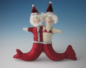 Mr and Mrs Claus Mermaid, Mermaid Mr and Mrs Claus, Holiday Ornaments, Christmas Ornaments, Santa Claus, Santa Claus Ornaments