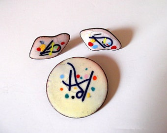 Vintage Enamel on Copper Brooch and Earrings / Abstract /Splatter / Rainbow /Yellow, Blue, Green, Red