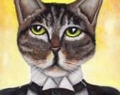 Jay Gatsby Cat, Brown Tabby Cat Portrait Great Gatsby Art Print