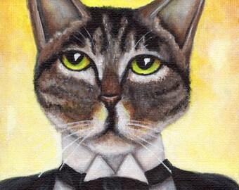 Cat in Tuxedo, Great Gatsby Cat Portrait 5x7 Fine Art Print