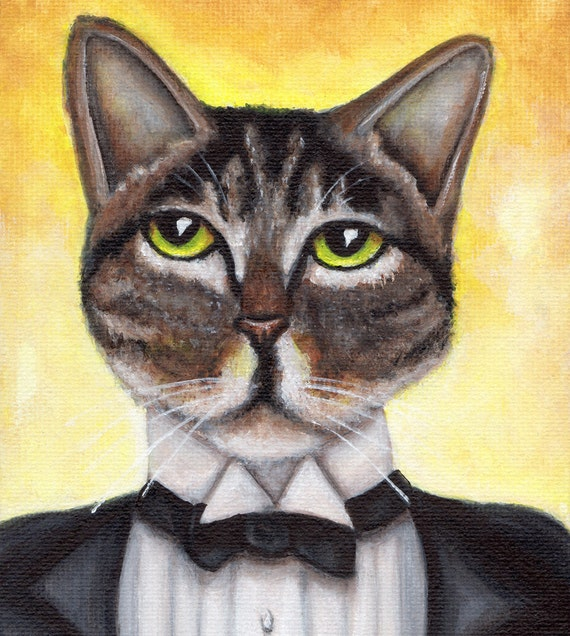 Jay Gatsby Cat, Brown Tabby Cat Portrait Great Gatsby Art Print
