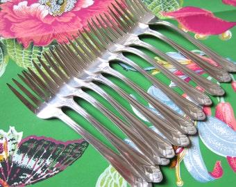 Winthrop Metropolitan Salad Forks - set of 11 - Silver Plate Flatware