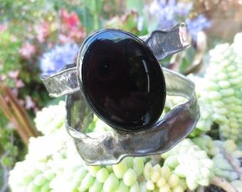 Vintage Cuff Bracelet Onyx Silver Black Brutalist Retro Statement Gemstone Jewelry