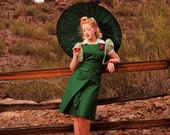 40's Pinafore Skirt in Shamrock Green