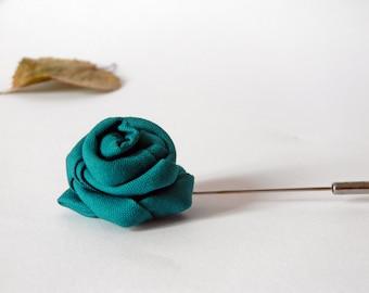 Mens lapel flower | men boutonniere | Wedding boutonniere, pick your color | Rose lapel pin solid color |