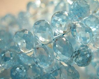 Shop Sale... 3 6 12 pcs, BLUE Topaz Teardrop Briolettes, Luxe AAA, 6-7 mm, Sky Blue Petite, december birthstone wholesale beads 67