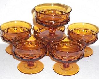 6 Vintage Amber Indiana Glass Kings Crown Thumbprint Desert Sherbet Dish