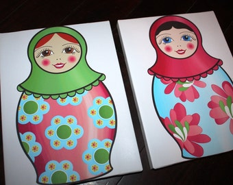 Set of 2 Nesting Dolls Matryoshka Girls Bedroom Baby Nursery Art Prints on Stretched CANVAS 2CS012