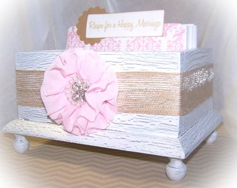 Wedding Guest Book Box - Advice Box, Guest Book- White Shabby chic Box, Pink and White, Burlap Bow