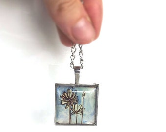 blue watercolor flowers hand painted pendant