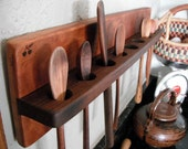 Custom Eco Wall Mount Spoon Rack Reclaimed Cherry and Black Walnut made to order