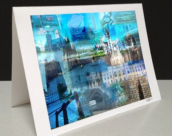 A Tale of Two Cities 5 x 7 Greeting Card - Twin Cities, MN