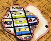 cloth menstrual pad set -2 pantyliner pads - teen set - cassette tapes - cotton velour - cloth pad - mama pad