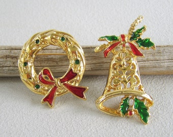 Vintage Holiday Brooch, Christmas Wreath, Christmas Bell, Gold Brooch, Red and Green, Wreath Brooch, Bell Brooch, Brooch Lot, Christmas Pin