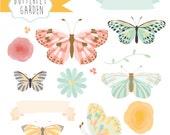 Instant Download - Butterfly Garden Vectors: Digital Clipart Set