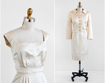 vintage 1950s dress / 50s dress / Ivory Silk Cocktail Dress and Matching Jacket Set