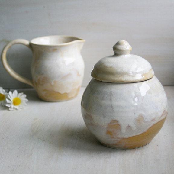 Rustic Sugar And Creamer Set Ceramic Sugar Bowl And Pitcher