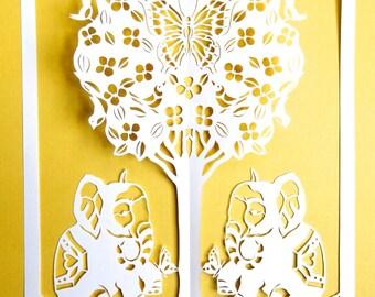Butterfly tree with elephants, hand cut paper art, by Ingrid Lavoie