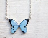 Blue Butterfly necklace - Pastel jewelry - Bridesmaids jewelry (N082) - BeautySpot
