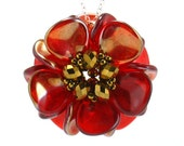 Red Flower Pendant Necklace, Passion