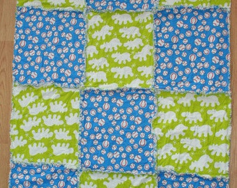 Baseball and Hippos One of A Kind Modern Rag Quilt
