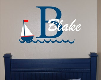 Personalized Sailboat Name with Initial Wall Decal - Sailboat Wall Decal - Sailboat Decal - Nautical Decal - Ocean Decal - Sailboat Nursery